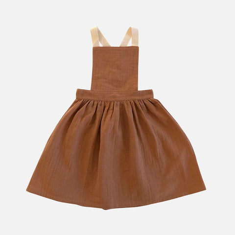 Organic Cotton Mina Apron Dress - Terracotta