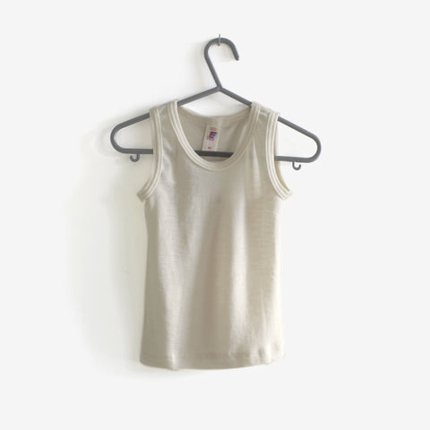 100% Organic Merino Wool Sleeveless Vest - Natural 18m-12 y