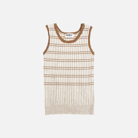 Knitted Cotton/Linen Tank Top - Sand/Willow