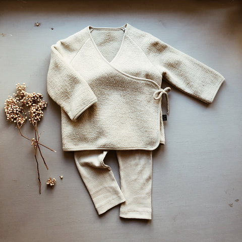 Organic Cotton Fleece Wrap Cardigan - Fog