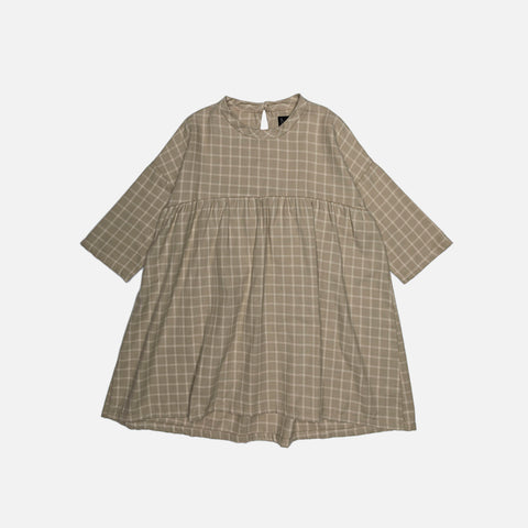Organic Cotton Flannel Dress - Natural Check