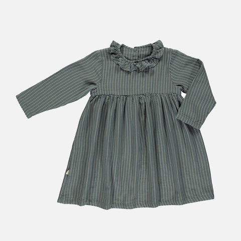 Organic Cotton Campanule Dress - Stormy Weather Stripes