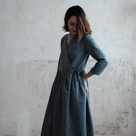 Women's Linen/Cotton Goyave Dress - Stormy Weather