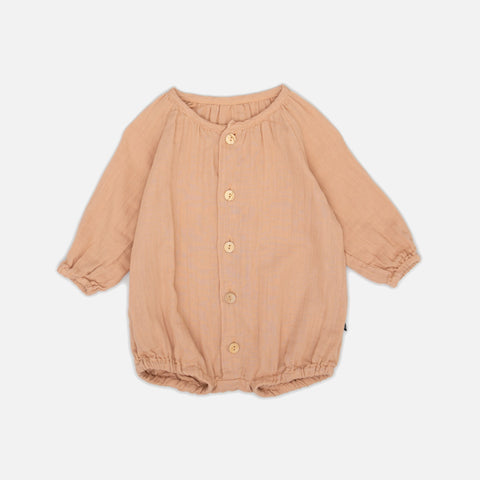 Organic Cotton Puff Overall - Apricot