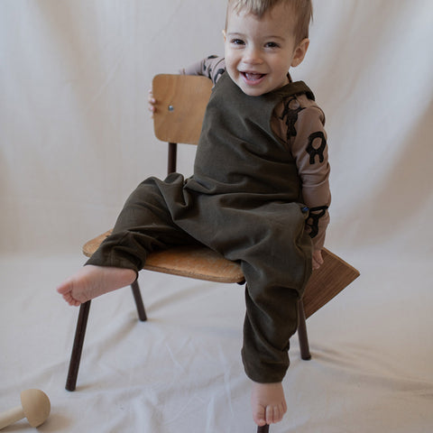 Organic Cotton Dungarees - Olive