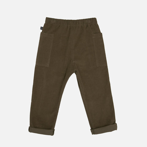 Organic Cotton Corduroy Side Pocket Pants - Olive
