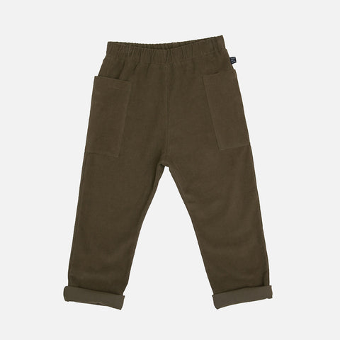 Organic Cotton Side Pocket Pants - Olive