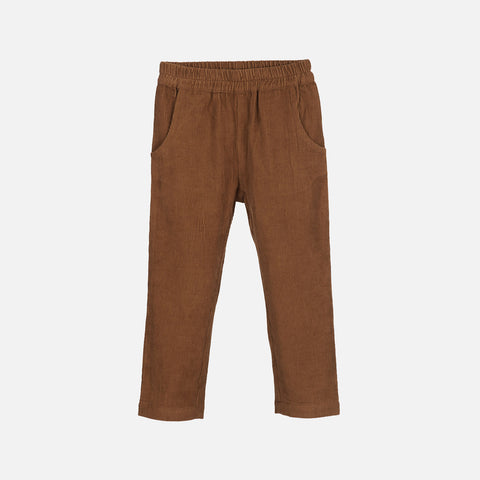 Organic Cotton Corduroy Loose Pants - Walnut
