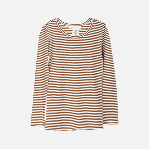Organic Cotton Slim Rib LS Top - Caramel/Ecru