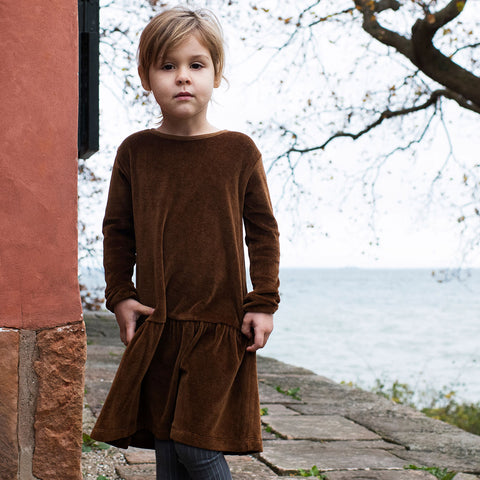 Organic Cotton Velour Dress - Caramel