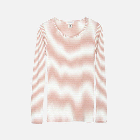Women's Organic Cotton Slim Rib LS Top - Clay/Ecru