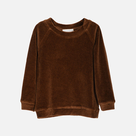 Organic Cotton Velour LS Top - Caramel