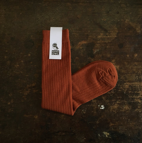 Exclusive Soft Wool Rib Knee Socks - Rust - Adults