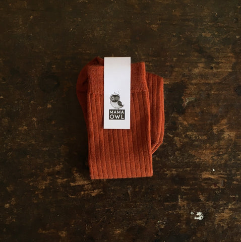 Soft Wool Rib Kids Knee Socks - Rust