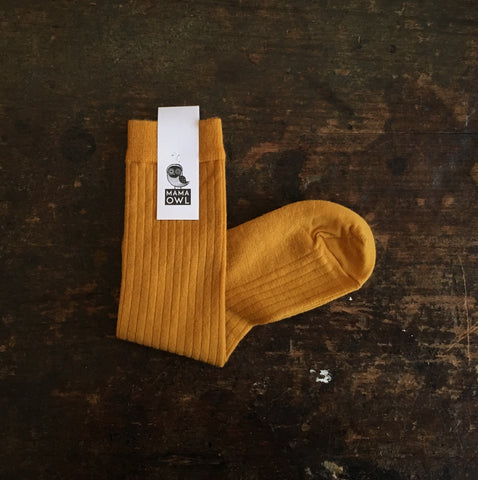 Exclusive Soft Wool Rib Knee Socks - Turmeric - Adults