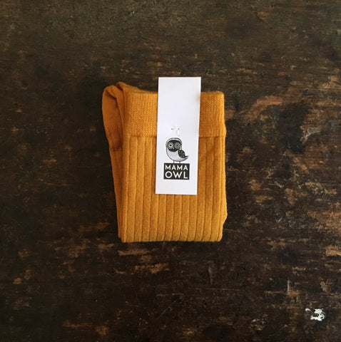 Soft Wool Rib Kids Knee Socks - Turmeric