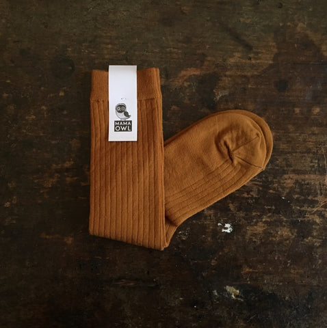 Exclusive Soft Wool Rib Knee Socks - Ochre - Adults