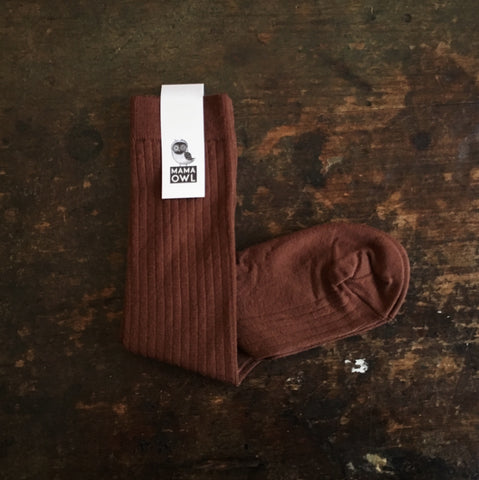Exclusive Soft Wool Rib Knee Socks - Nutmeg - Adults