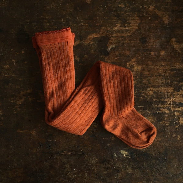 Exclusive Soft Wool Rib Kids Tights - Rust - 1-8y