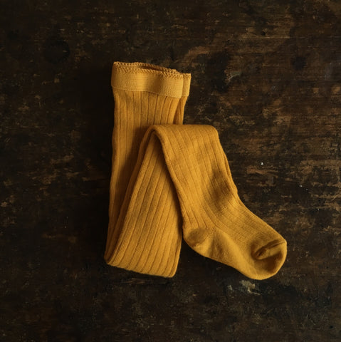 Exclusive Soft Wool Rib Kids Tights - Turmeric
