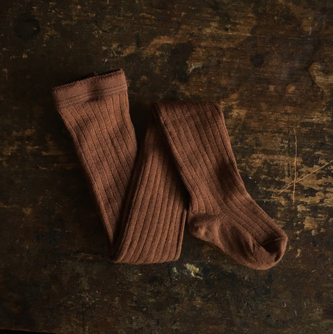 Exclusive Soft Wool Rib Kids Tights - Nutmeg
