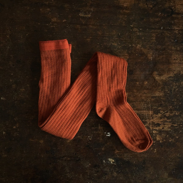 Exclusive Adult Soft Wool Rib Tights - Rust