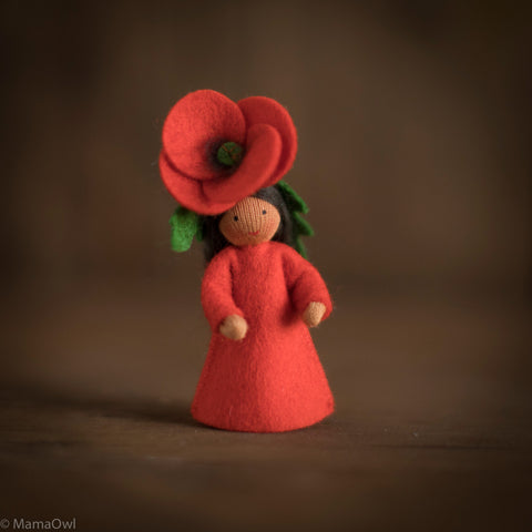 Handmade Small Wool Flower Fairy - Poppy