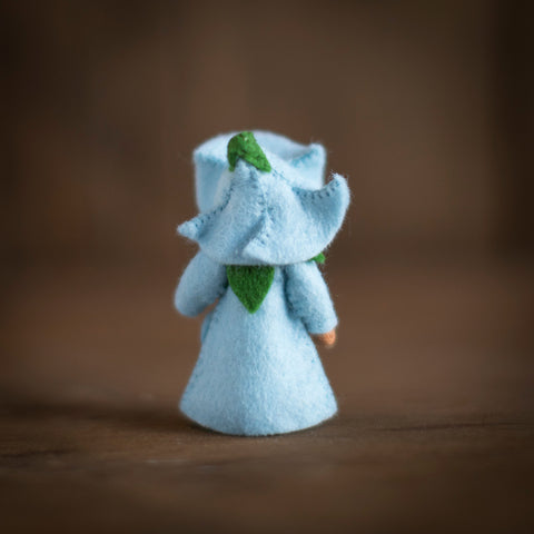 Handmade Small Wool Flower Fairy - Blue Morning Glory