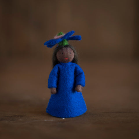 Handmade Small Wool Fairy With Flower - Bluebottle