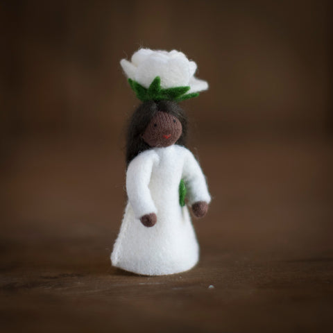Handmade Small Wool Flower Fairy - White Rose
