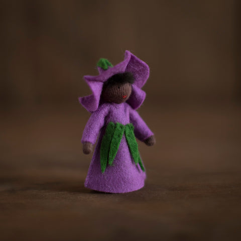 Handmade Small Wool Flower Fairy - Purple Morning Glory