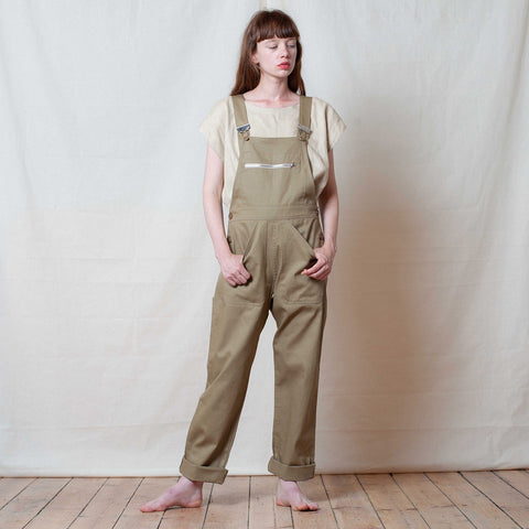 Adult Cotton Dungarees - Putty - S-L
