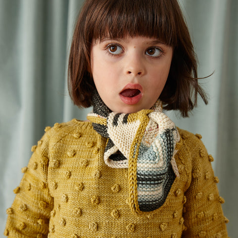 Hand-Knit Merino Popcorn Sweater - Winter Wheat - 5-6y
