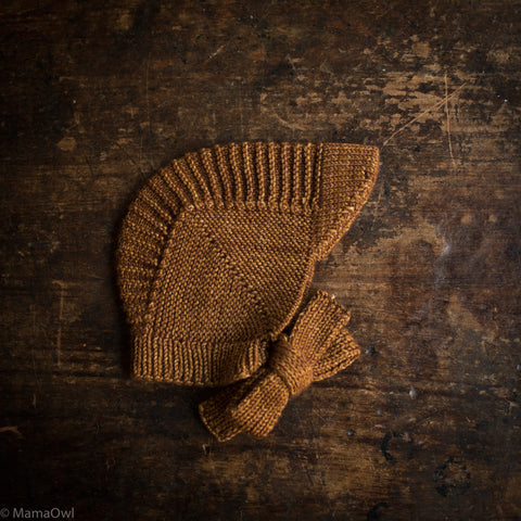 Exclusive Hand Knit Merino Wool Visor Bonnet - Nutmeg