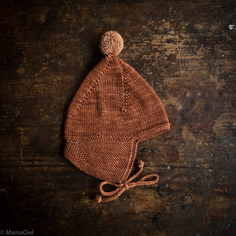 Exclusive Hand Knit Merino Wool Pointy Peak Hat - Terracotta