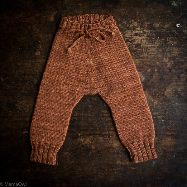 Exclusive Hand Knit Merino Wool Snowy Day Leggings - Terracotta