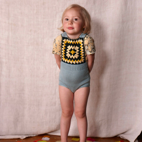 Hand-knit and Crochet Sand Castle Sunsuit - Faded Indigo - 0-6m