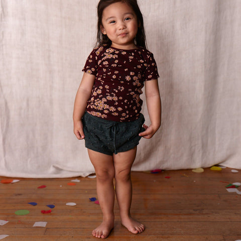 Hand-knit Cotton Summer Popcorn Shorts - Spruce - 18m-5y