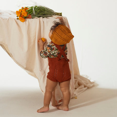 Hand Knit Cotton Sea Urchin Bonnet - Marigold - 0m-4y