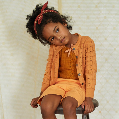 Cotton Knit Windowpane Cardigan - Apricot - 2-8y