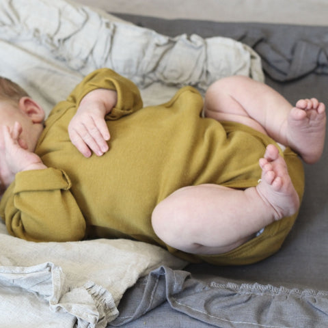 Organic Cotton Morris Long Sleeve Body - Golden Leaf - 0m-6m