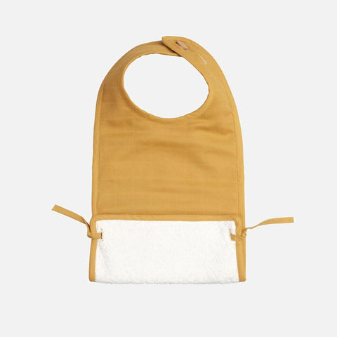 Organic Cotton Muslin/Terry Feeding Bib - Ochre
