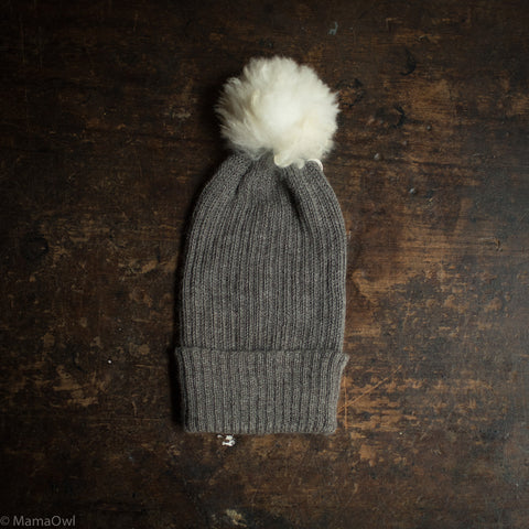 Adult Alpaca Rib Hat With Alpaca Pompom - Slate Grey