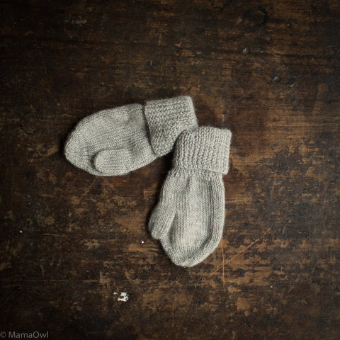 Alpaca Long Mittens -  Light Grey