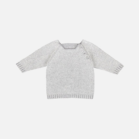 Wool/Cashmere Sweater - Heathered Grey - 6-18m