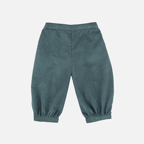 Alice Corduroy Cropped Trouser - Teal - 6-12m