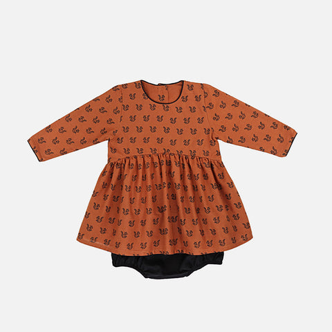 Cluny Dress Nanu - Ochre - Squirrels Black - 6m-2y