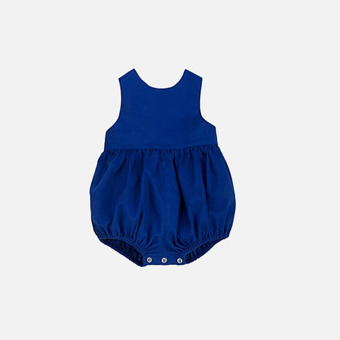 Zoe Cotton Cross Back Romper - Ultramarine - 3-12m