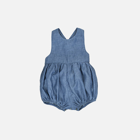 Cotton Zoe Romper - Denim - 6m-3y
