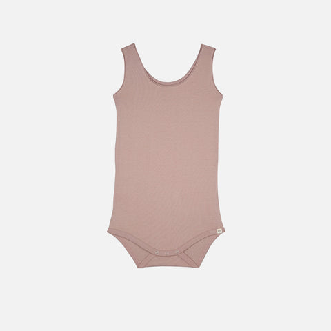 Organic Cotton Sleeveless Napoli Body - Dusty Rose - 1m-3y